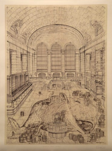 Leviathon, Grand Central - 2008, Ink on paper, 32.25 x 24 inches