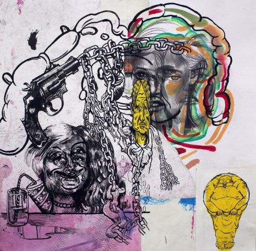 Saturday Night Special - 2014, Mixed media on paper, 24 x 24 inches