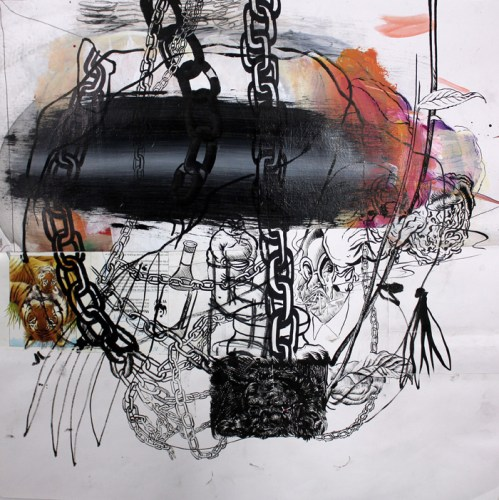 Tigers N' Chains - 2014, Mixed media on paper, 24 x 24 inches