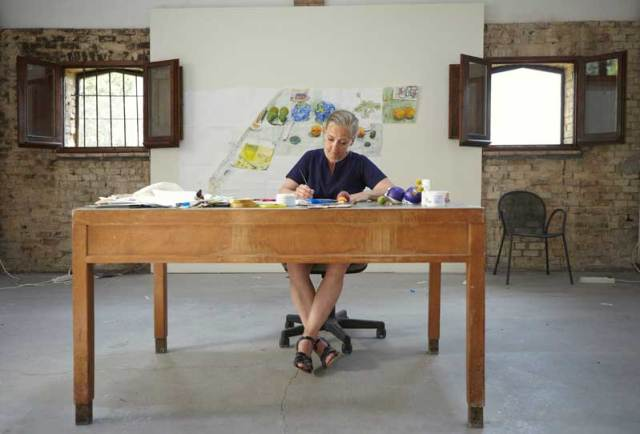 Dawn Clements - During her Civitella Ranieri Residency, 2013