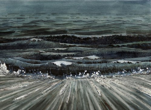 """Brian Dewan - """"Undertow,"""" 2011, Ink and watercolor on paper, 9 x 12 inches (Drawing from """"The Tide Waits For No Man"""" Film Strip)"""