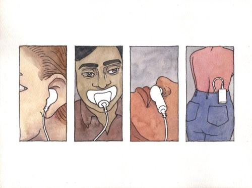 """no title - Brian Dewan, """"Pop"""" (Film-strip Still), 2011, Ink and watercolor on paper, 9 x 12 inches."""