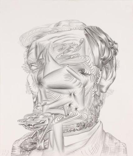 "James Esber - ""Lincoln No Face,"" 2012, graphite on paper, 17 x 14.75"