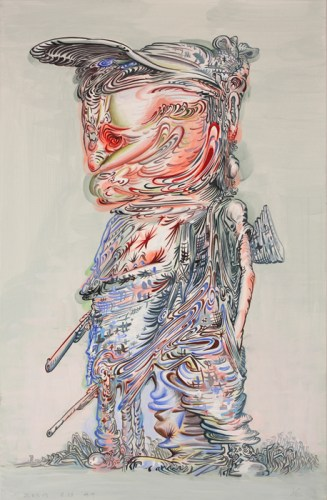 """James Esber - """"Untitled (Boy with Five Legs),"""" 2013, Acrylic on paper, 27.5 x 18 inches"""