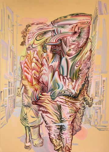 """James Esber - """"Untitled (Run),"""" 2013, acrylic on paper, 27 x 19.5 inches"""