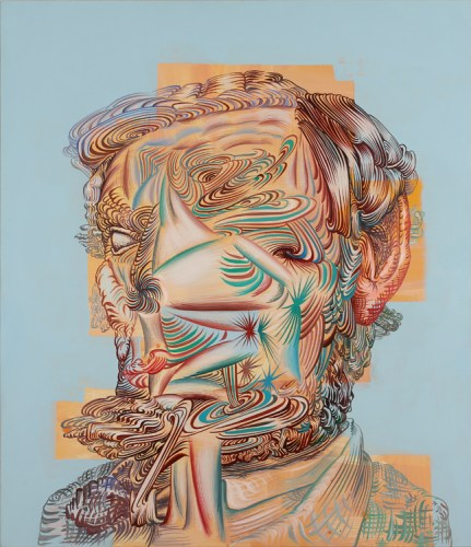 """James Esber - """"Lincoln Noface,"""" 2014, Acrylic on PVC board, 37 x 31.75 inches"""
