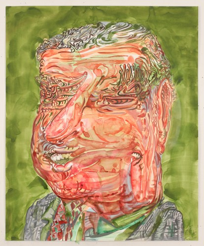 """James Esber - """"Tricky Dick,"""" 2015, Watercolor and acrylic on paper, 17 x 14 inches"""