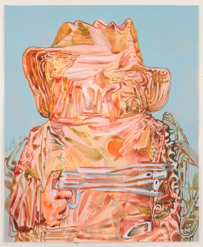 "James Esber - ""Untitled (Pink Cowboy),"" 2015, Watercolor and acrylic on paper, 17 x 14 inches"