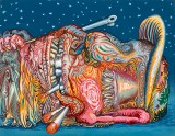 """James Esber - """"Sleeping Hunter,"""" 2021, Acrylic on paper mounted to PVC panel, 11 x 14 inches"""
