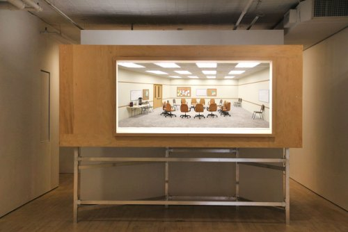 """no title - """"False Narratives"""" Installation View, June 2016 (Roxy Paine, """"Meeting"""")"""