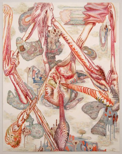 """J. Fiber - """"Double Your Pleasure,"""" 2008, Acrylic, ink and colored pencil on paper, 30 x 22 inches"""