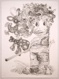 "J. Fiber - ""He Said, She Said (1 of 2),"" 2008, Graphite on paper, 30 x 22 inches"