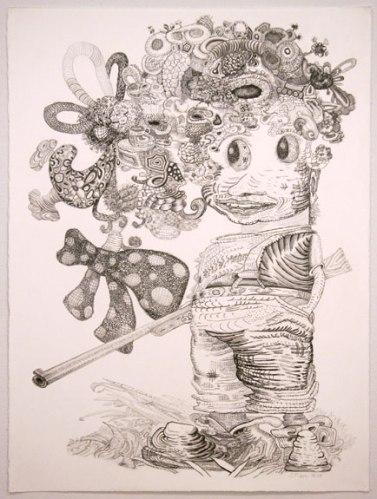 "J. Fiber - ""He Said, She Said (1 of 2),"" 2008, Graphite on paper, 30 x 22 inches"