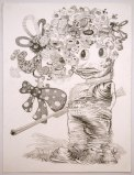 "J. Fiber - ""He Said, She Said (2 of 2),"" 2008, Graphite on paper, 30 x 22 inches"