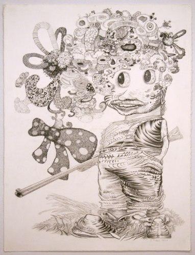 "J. Fiber - ""He Said, She Said (2 of 2),"" 2008, Graphite on paper, 30 x 22 inches"