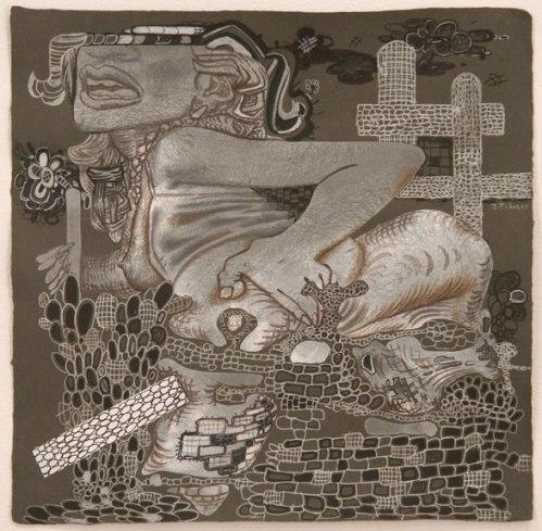"""J. Fiber - """"T.L.C.,"""" 2007, Graphite on paper, 11 7/8 x 12 inches. Sold"""