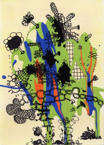 """Jane Fine - """"2009-5,"""" 2008, Acrylic and Ink on Paper, 5 x 7 inches"""