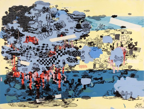 """Jane Fine - """"2012-1,"""" 2012, acrylic and ink on paper, 22 x 30 inches"""