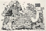 """Jane Fine - """"Letters Are A Bandaid for Something Worse,"""" 2013, Ink on paper, 7.75 x 11.25 inches"""