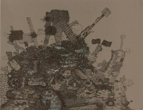 Heap - 2011, Ink on paper, 19.5 x 25.5 inches