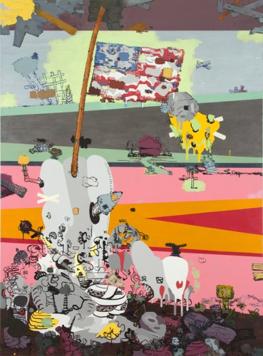 """Jane Fine - """"My American Painting,"""" 2015, Acrylic on canvas, 74 x 55 inches"""