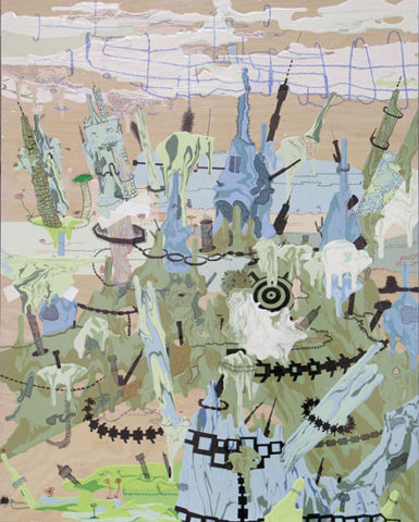 Jane Fine - Battlefield IV, 2004, acrylic and ink on wood panel, 30 x 24 inches