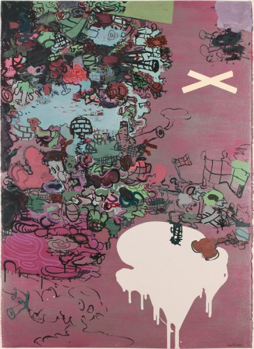"""Jane Fine - """"OMG, I Mean POW,"""" 2015, Acrylic and ink on paper, 41.5 x 29.5 inches"""