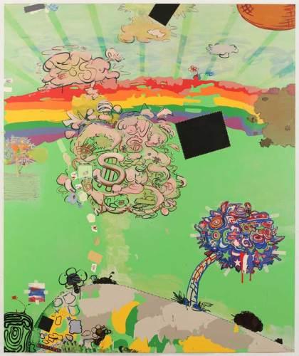 "Jane Fine - ""Zuckerman Memorial Garden,"" 2018, Acrylic on canvas, 72 x 60 inches"