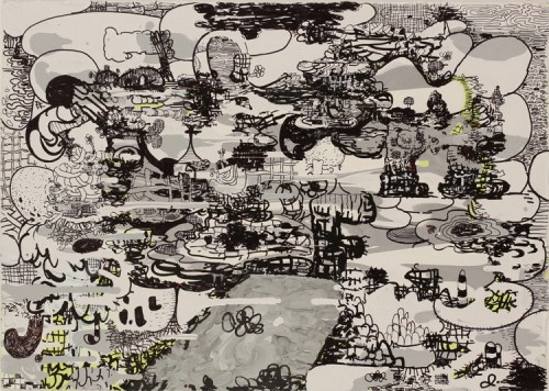 Jane Fine - Untitled, 2014, Acrylic and ink on paper, 21.75 x 29 inches