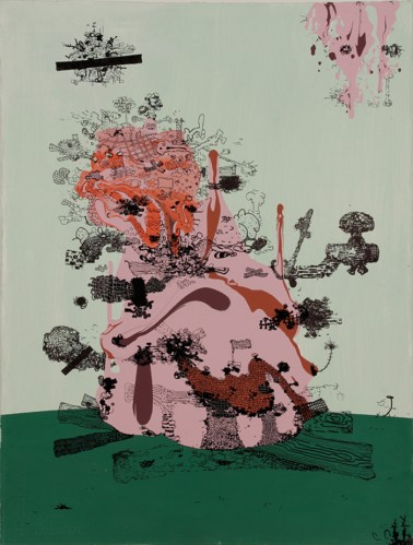Campfire Song - 2011, Acrylic and ink on paper, 30 x 22 inches