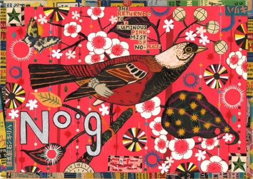 """Tony Fitzpatrick - """"Bird of the Magic Garden,"""" Mixed media on paper"""