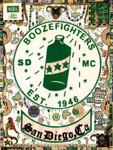"""Tony Fitzpatrick - """"Booze Fighters,"""" 2013, Mixed media on paper, 9 x 12 inches"""