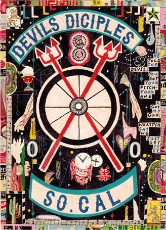 "Tony Fitzpatrick - ""Devil's Diciples,"" 2012, Mixed media on paper, 10 3/8 x 7 3/8 inches"