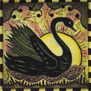 The Radio Swan - 2011, Etching on paper, 5 x 5 inches (paper), 3 x 3 inches (image). #3/45