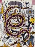 """Tony Fitzpatrick - """"The Viper Tree (The Border),"""" 2014, Mixed media on paper, 10.5 x 7 3/8 inches"""
