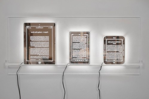 "Ellen Harvey - ""Looking Glass iPad, Kindle and Nook,"" Laser-etched plexiglass mirrors on lumisheets and plexiglass frames on plexiglass shelf, Ed. 3/3 + 1 A.P., 30 x 13 inches"