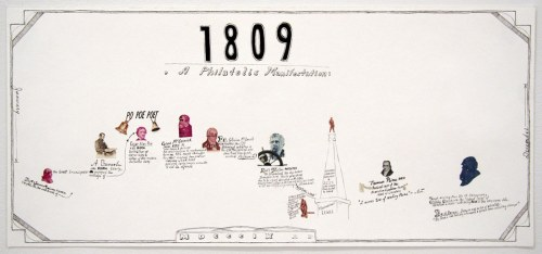 Jonathan Herder - 1809, 2008, stamp collage, ink on paper, 9 x 20 inches
