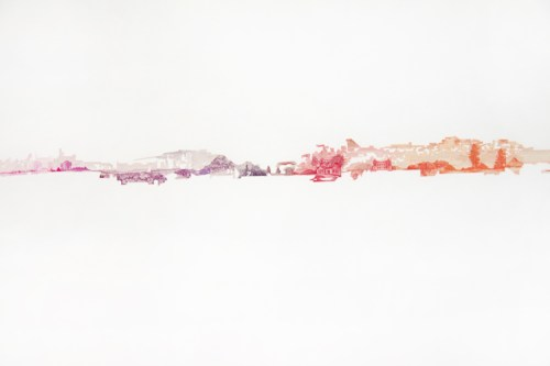 """Jonathan Herder - """"Stampographic (Sports Cycle),"""" Detail, 2008, Stamp collage on paper, 23 x 63 inches"""