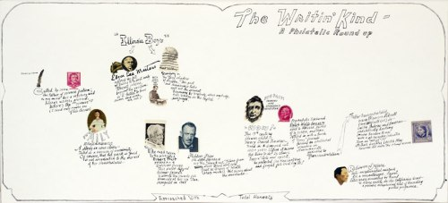 """Jonathan Herder - """"The Writin' Kind,"""" 2013, Stamp collage and ink on paper, 9 x 20 inches"""