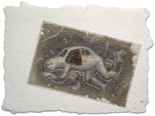 The Dead Carnivore - 2009, acrylic on paper, 6.25 x 8.25 inches