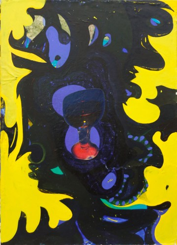 """Sharon Horvath - """"Untitled (Black and Yellow),"""" Pigment, polymer, paper on canvas, 30 x 22 inches"""