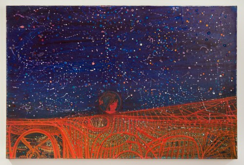"""Sharon Horvath - """"Red Road,"""" 2012-17, Pigment and polymer on paper on canvas, 24 x 36 inches"""