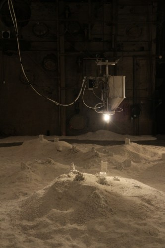 "Jonathan Schipper - ""Detritus (Installation View at The Boiler),"" 2013, Mechanical components, salt, dimensions variable"