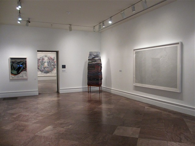 Albright-Knox - Reed Anderson, Midnight Peacock Music (seen through doorway) and Daniel Zeller, Occupational Hazard (seen on far right)