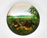 "Patrick Jacobs - ""Double Stump with Rustgill Mushrooms,"" 2015, Styrene, acrylic, cast neoprene, paper, polyurethane foam, ash, talc, starch, acrylite, vinyl film, copper, wood, steel, lighting, BK7 glass. Diorama viewed through 2.75 inch (7cm) window.  Interior box dimensions: 18.5 (W) x 12.75 (H) x 11.5 (D) inches (47 x 32 x 29 cm)"
