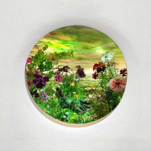 """Patrick Jacobs - """"Green Sickle Moon,"""" 2020. Diorama viewed through 2.75 inches window (7 cm). Styrene, clay, paper, foam, wood, acrylic, steel, lighting, BK7 glass. 14.75 (H) x 11.25 (W) x 9.25 (D) inches (37 x 28.5 x 23 cm)"""