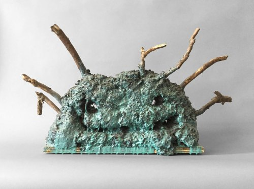"Patrick Jacobs - ""Blue Laughing Head (Les Fleurs du Mal #20),"" 2018, Mud, sticks, wood, wire, epoxy, 17.25 (H) x 32 (W) x 6 (D) inches"
