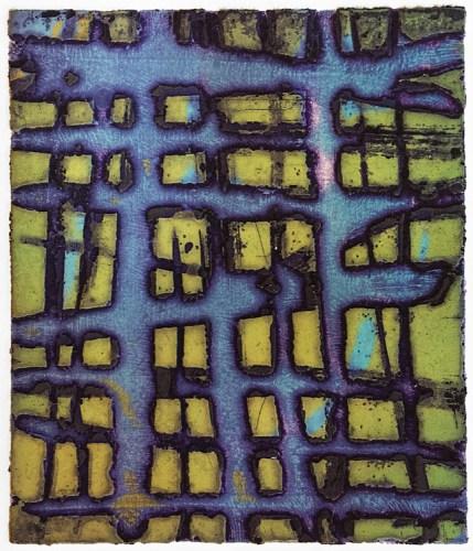 "Patrick Jacobs - ""Blue Thatch (Night Spirits I),"" 2018, Unique Viscosity Print, 6 x 5 inches"