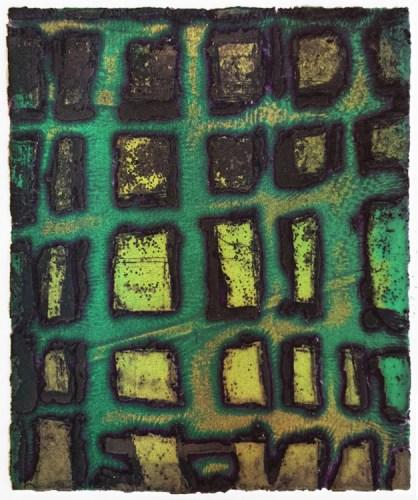 "Patrick Jacobs - ""Green Weave (Night Spirits I),"" 2018, Unique Viscosity Print, 6 x 5 inches"