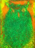 "Patrick Jacobs - ""Green Owl (Night Spirits II),"" 2020, Unique Viscosity Print, 24 x 18 inches"